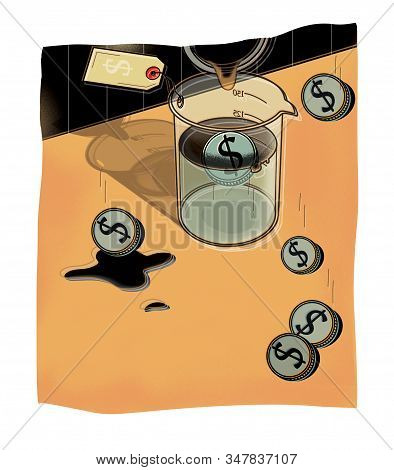 Сost Of Oil In Dollars. Oil From The Pipe Is Poured Into A Chemical Flask. Price. Illustration.