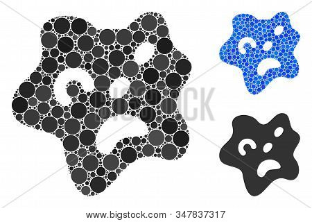 Amoeba Mosaic Of Small Circles In Various Sizes And Color Tints, Based On Amoeba Icon. Vector Small