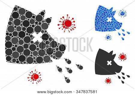 Swine Flu Mosaic Of Filled Circles In Various Sizes And Color Hues, Based On Swine Flu Icon. Vector