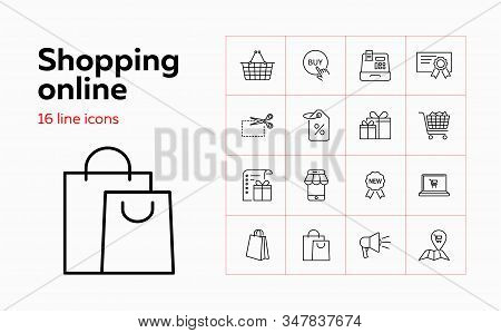 Shopping Online Line Icon Set. Smartphone, Laptop, Payment. Purchasing Concept. Can Be Used For Topi