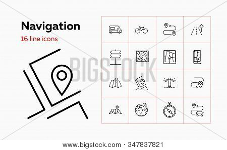 Navigation Line Icon Set. Camper Van, Gps App, Light House. Travel Concept. Can Be Used For Topics L