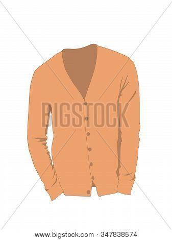 Cardigan For Men Vector Orange No Background