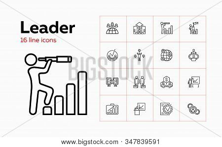 Leader Line Icon Set. Meeting, Partnership, Deal. Business Concept. Can Be Used For Topics Like Star