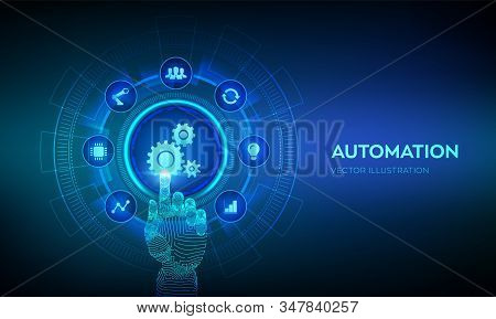 Automation Software. Iot And Automation Concept As An Innovation, Improving Productivity In Technolo