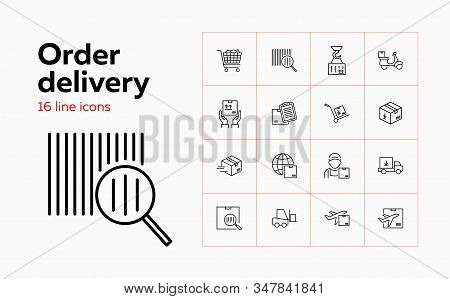 Order Delivery Line Icon Set. Barcode, Loading, Courier, Airplane. Transportation Concept. Can Be Us