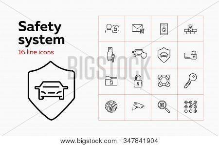 Safety System Line Icon Set. Car, Shield, Lock, Key, Spider. Protection Concept. Can Be Used For Top