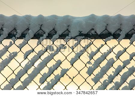 A Close Up Soft Focus Shot Of A Chain Link Fence, Aka Diamond Mesh, Hurricane Fencing, Wire Netting