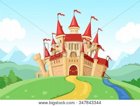 Fairytale Castle Illustration Fantasy Landscape With Fairy Kingdom Medieval House