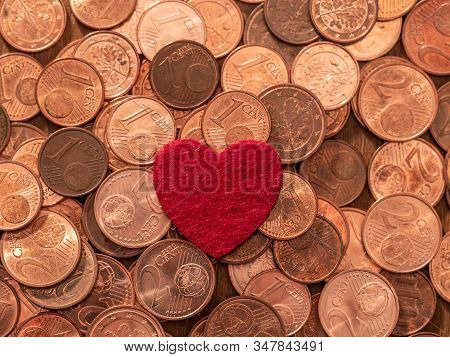 Image Full Of Euro Cents And Red Heart, Copper Coin, One And Two Cents Coin Will Be Dismissed By Ecb