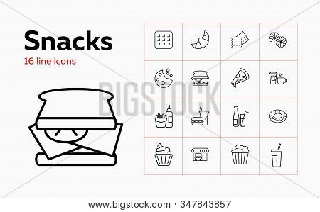 Snacks Icons. Set Of Line Icons. Pizza, Sandwich, French Fries. Fast Food Concept. Vector Illustrati
