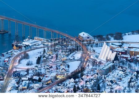 Aerial View on Tromso and Arctic cathedral, Norway, Tromso At Winter