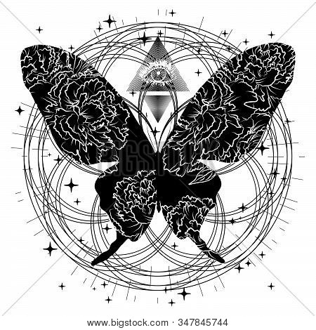 Mystical Illustration With Silhouette Butterfly And A Third Eye. Can Be Used For Topics In Alchemy,