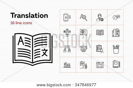 Translation Icons. Set Of Line Icons. Dictionary, Online Translator, Language. Linguistics Concept.
