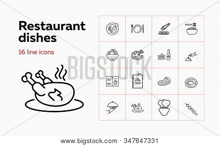 Restaurant Dishes Icons. Set Of Line Icons. Yummy, Cuisine, Menu. Food Service Concept. Vector Illus