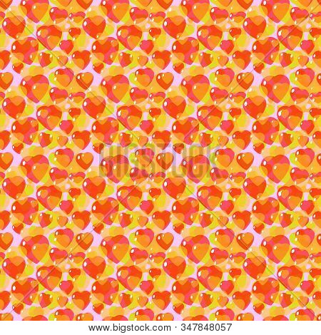 St. Valentine, Vector, Seamless Pattern Of Stylized Hearts In A Romantic Style, In Yellow Colors. Ba
