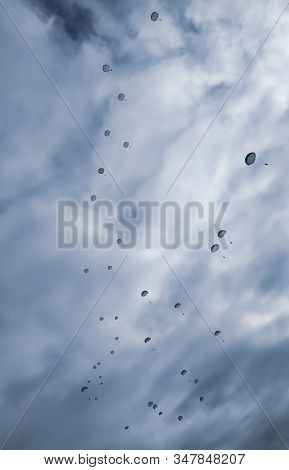 Military Army Paratroopers Jumping At Air War Action