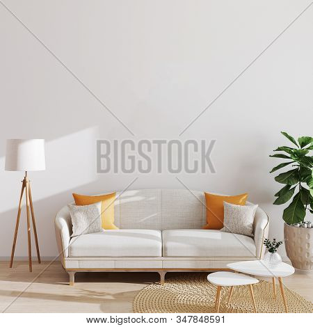 Modern Living Room Interior Background, Scandinavian Style, 3d Illustration. Living Room Mockup.