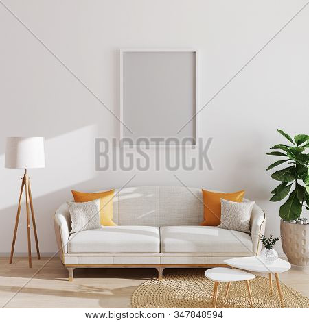Mock Up Poster Or Picture Frame In Modern Minimalistic Interior Background, Scandinavian Style, 3d I