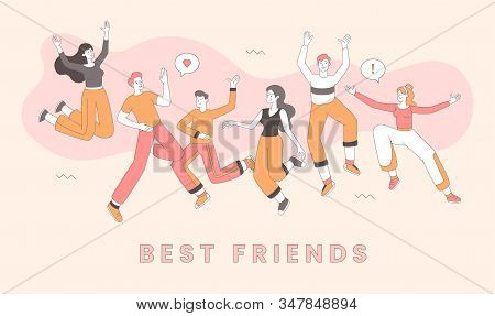 Friendship Day Celebration Banner Vector Template. Best Friends Dancing Together, Cheerful Men And W