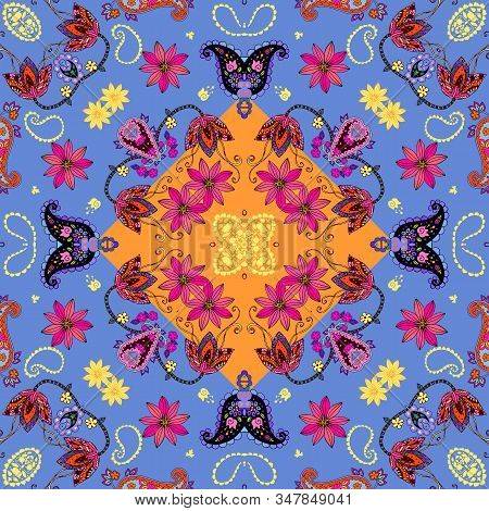 Colorful Seamless Pattern With Flowers And Paisley. Design For Fabric, Textile, Wrapping. Pillowcase
