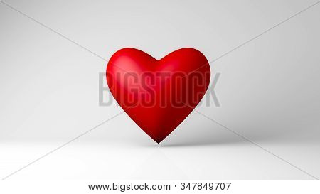 3d Rendering, Realistic Design Of Single Heart Mock-up Objects With Shiny Reflection And Shadow On W