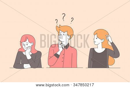 Confused Young People Linear Cartoon Illustration. Guy, Pretty Uncertain Girls Solving Problem, Sear