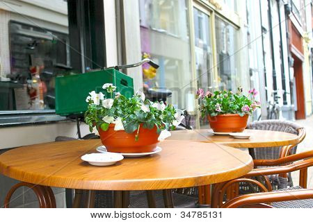Flowers On The Tables Of Street Cafes. Gorinchem. Netherlands
