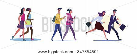 Set Of Friends Going Out In Leisure Time. Flat Vector Illustrations Of Business People Rushing To Wo