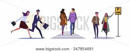 Set Of Business People Rushing To Workplace. Flat Vector Illustrations Of Couple Walking Around City