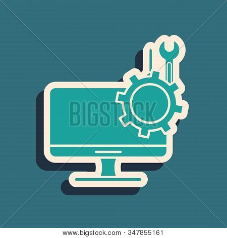 Green Computer Monitor With Screwdriver And Wrench Icon Isolated On Blue Background. Adjusting, Serv