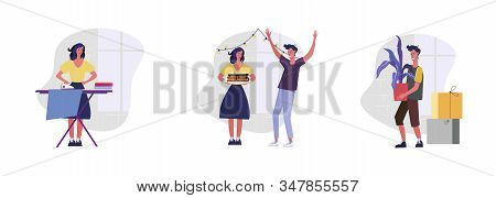 Set Of People Decorating House For Celebration. Flat Vector Illustrations Of Woman Ironing Laundry.