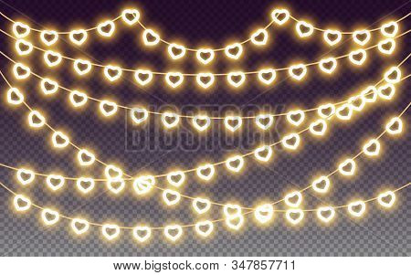Heart Garland, Yellow Neon Light Bulb Glow Effect, Design Elements For Love, Valentine, Wedding, Rom