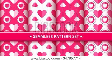 Heart Seamless Pattern Set. Love, Valentines Day, Wedding, Romantic Symbol. Cute Pink, Red Hearts Si