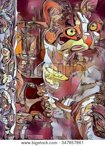 Digital Painting. Cat. Oil on canvas. 3D rendering