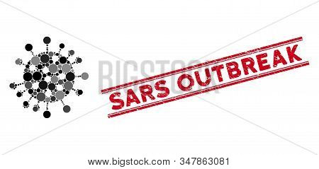 Mosaic Sars Virus Icon And Distressed Stamp Watermark With Sars Outbreak Caption Between Double Para
