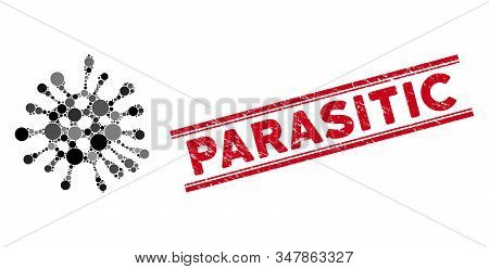 Mosaic Microbe Icon And Distressed Stamp Seal With Parasitic Text Between Double Parallel Lines. Mos