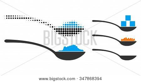 Powder Spoon Halftone Vector Icon And Solid Version. Illustration Style Is Dotted Iconic Powder Spoo
