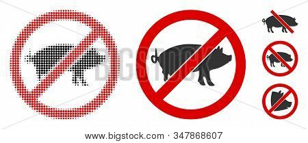 Stop Swine Halftone Vector Icon And Solid Version. Illustration Style Is Dotted Iconic Stop Swine Ic