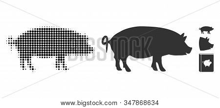 Swine Halftone Vector Icon And Solid Version. Illustration Style Is Dotted Iconic Swine Icon Symbol