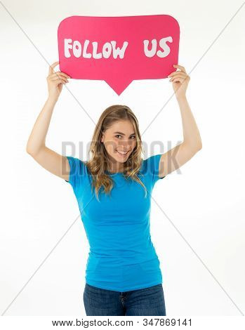 Beautiful Young Woman Holding Follow Us Social Media Icon For Her Business On The Internet