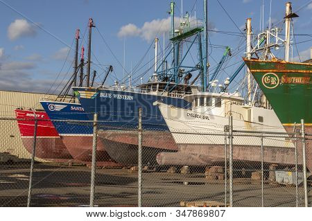 Fairhaven, Massachusetts, Usa - January 21, 2020: Commercial Fishing Boats Hauled Out For Painting A