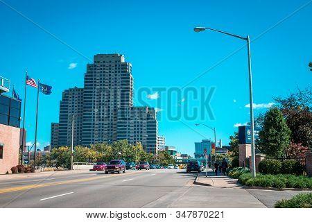 Artprize - Grand Rapids, Mi /usa - October 10th 2016: Shot Of Entering Downtown Grand Rapids Michiga