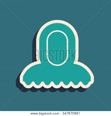 Green Medieval Hood Icon Isolated On Blue Background. Hooded Sweatshirt. Long Shadow Style. Vector I