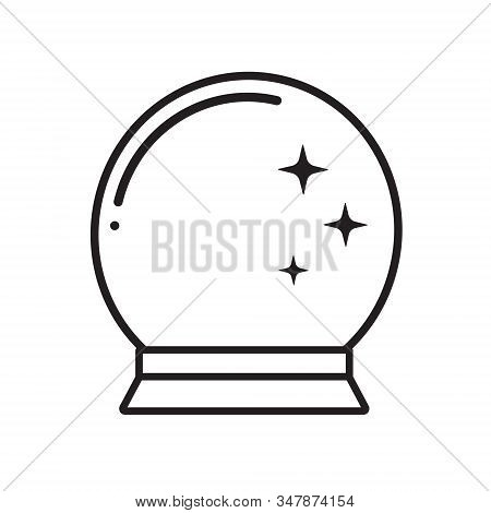 Vector Flat Black Outline Mysterious Orb, Magical Crystal Glass Ball Prediction Paranormal Sphere Is