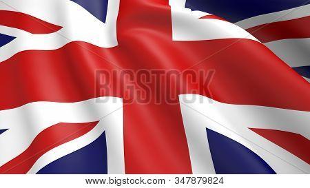 High Resolution Flag Of Britain Silk. Uk Background Texture.