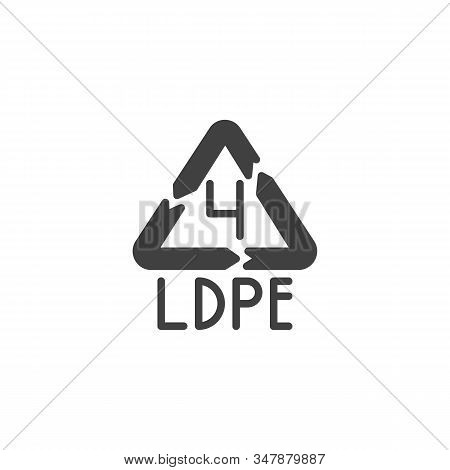 Low-density Polyethylene Vector Icon. Filled Flat Sign For Mobile Concept And Web Design. Ldpe 4, In
