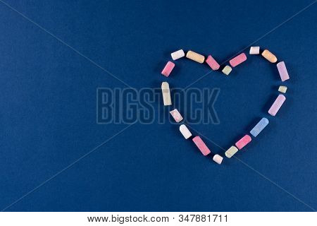 Heart Made Of Chalk Pastel Colors On Trend Classic Blue 2020 Color Background. Valentines Day 14 Feb