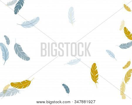 Exotic Silver Gold Feathers Vector Background. Flying Feather Elements Airy Vector Design. Decorativ