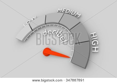 A Device For Measuring The Sound Intensity In Decibels. Infographic Gauge Element. 3d Rendering