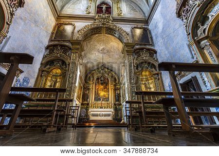 Lisbon - August 28, 2019: View Of The Magnificent Baroque Interior Of The Church Of Sao Pedro De Alc